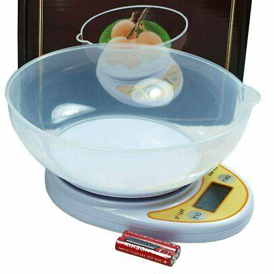 Compact Kitchen Diet Food Scale - Removable Bowl