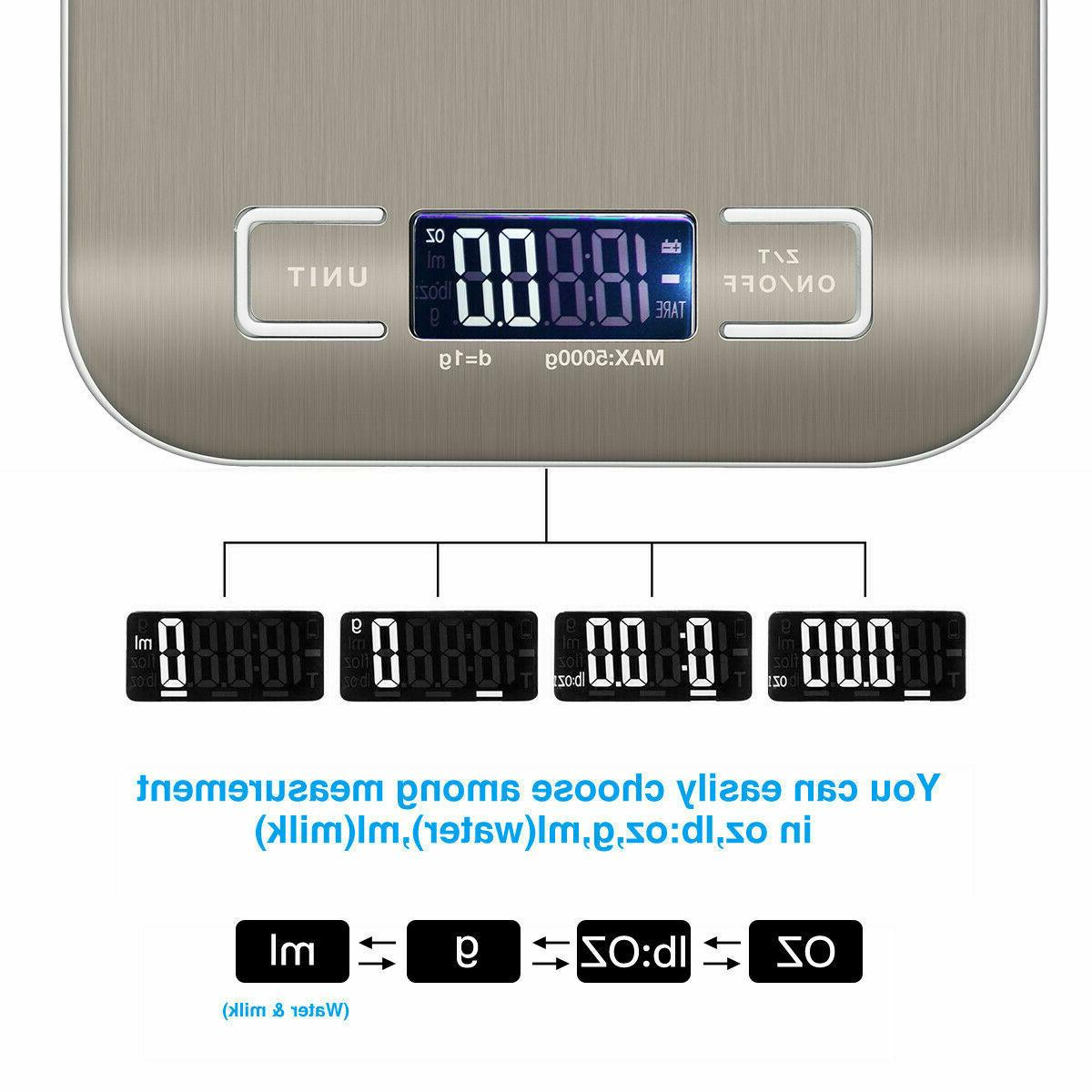 Kitchen Weight Steel Scale 11LB 5KG LED