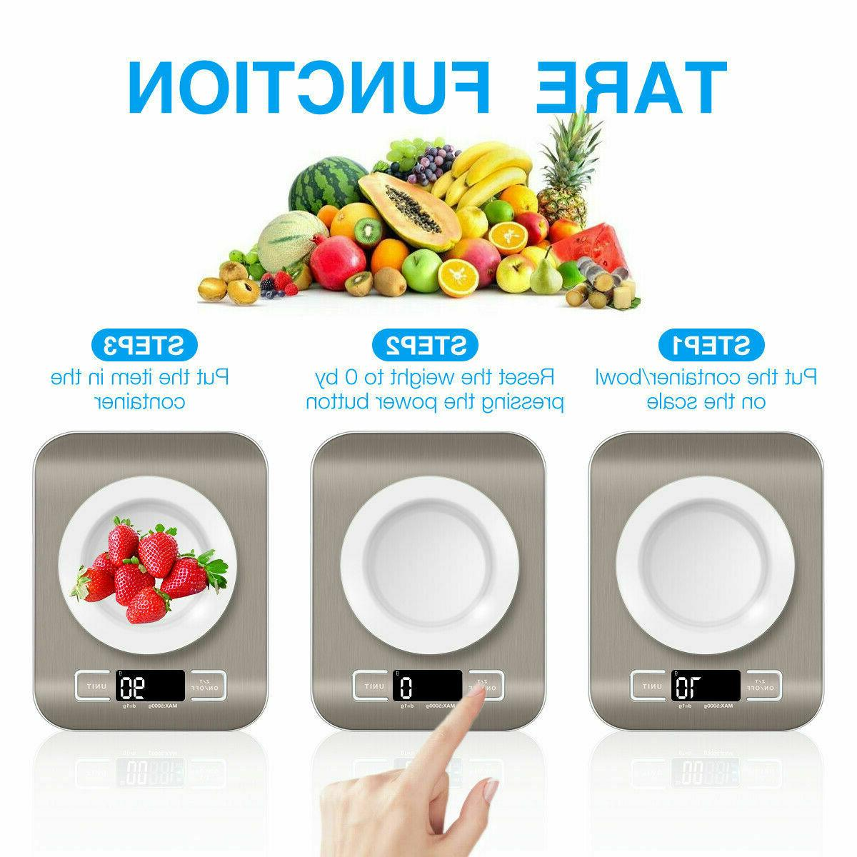 Kitchen Weight Steel Food Diet Scale 11LB LED