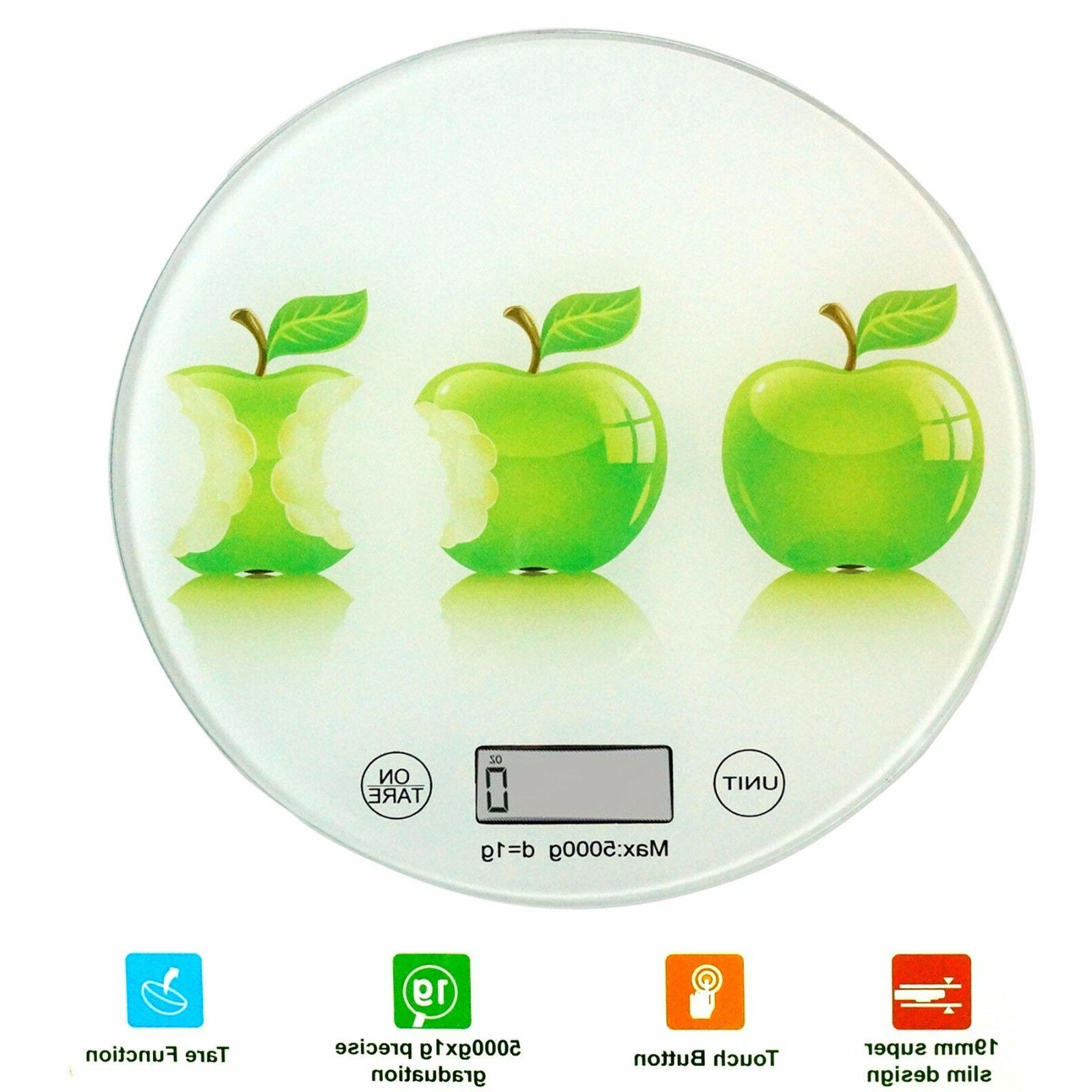 round digital kitchen scale glass apples painted