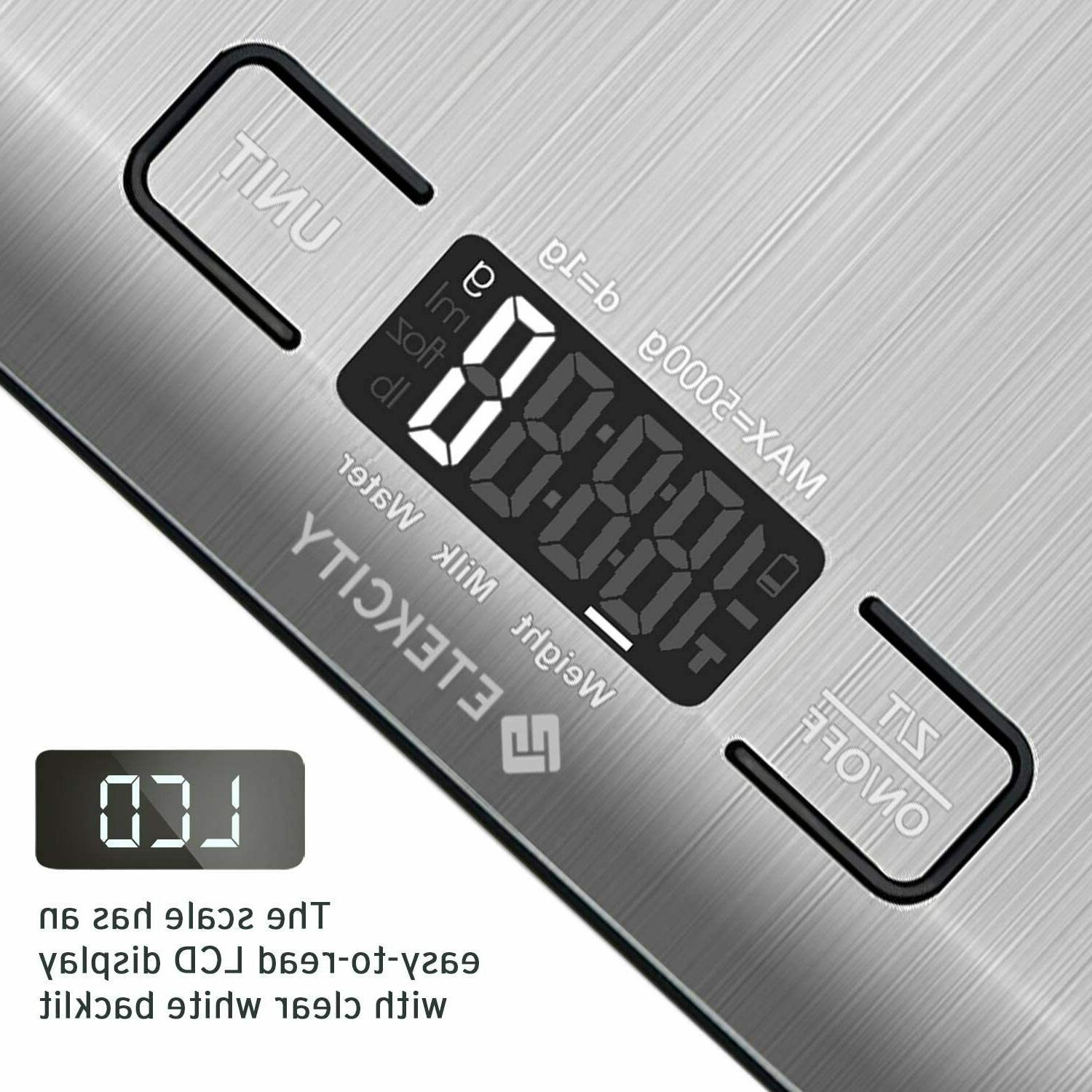 Etekcity Digital Food Scale Weight Scale Stainless Steel Silver