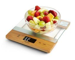 New Taylor Bamboo and Glass Digital Kitchen Scale 11 LB Capa